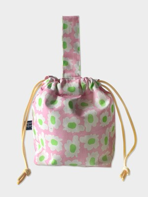 bloom pink string bag