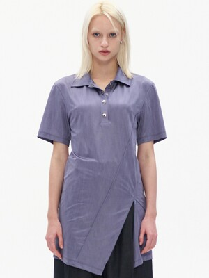 DIAGONAL ZIP SLIT COLLARED T-SHIRT, PURPLE
