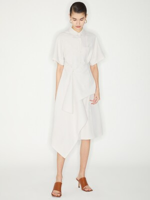 PINTUCK WRAP SHIRTS DRESS_IVORY