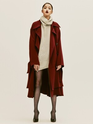 JAL BURGUNDY SILK TRENCHCOAT