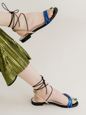 Petal capture gladiator sandal_Blue+Gold