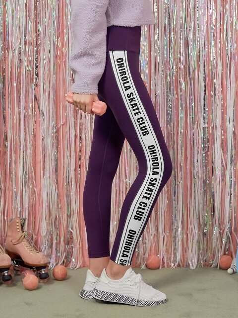 (LS-18553) SIDE LETTERING LEGGINGS PURPLE