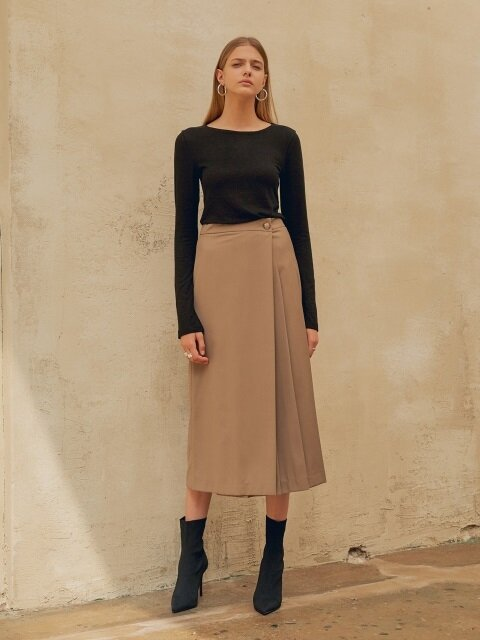18FW PLEATED WRAP SKIRT BROWN