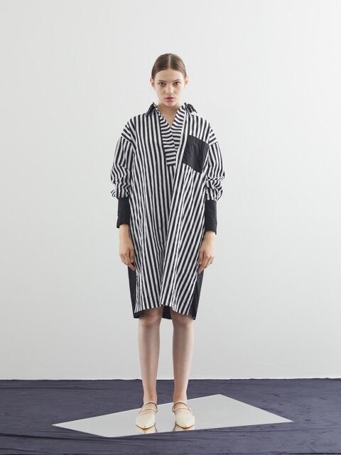 MILA LONG SHIRTS ONE-PIECE_WHITE STRIPE