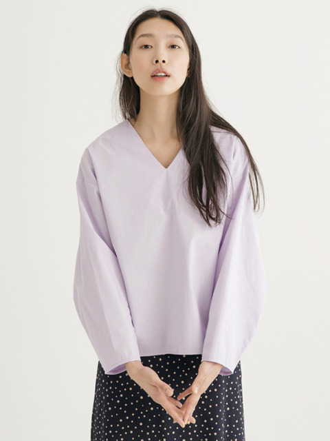 V-neck Ballon Blouse - Lavender