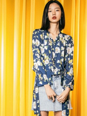 UWS-FB03 balloon ribbon blouse[navy(WOMAN)]