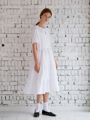 CALIN TIERED DRESS WHITE JACQUARD