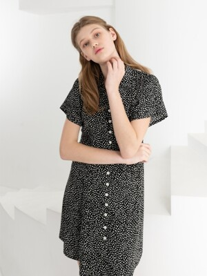 FRONT BUTTON MINI DRESS . BLACK