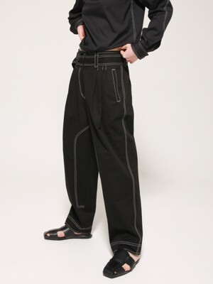 Stitched two tuck pants with belt