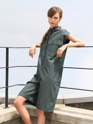 Mandarin short jumpsuit_Green