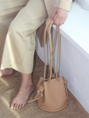 Leather Pipe Bag - Beige