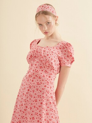 Puff Shoulder Mini Dress_ Pink