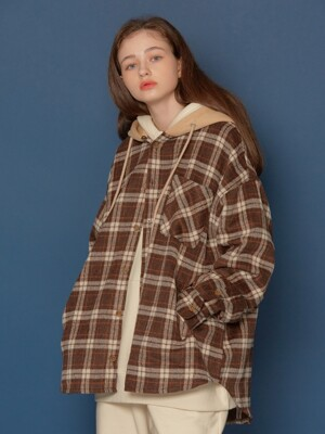 Hood Check Shirt (BEIGE)
