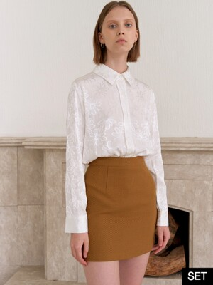 [SET] FLOWER SILKY SHIRTS_WHITE+TWILL MINI SKIRT_BROWN