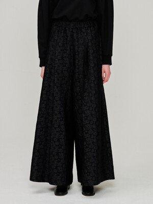 Floral jacquard Pants_Black