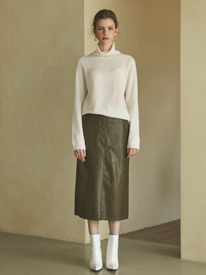 stitch leather skirt (khaki)