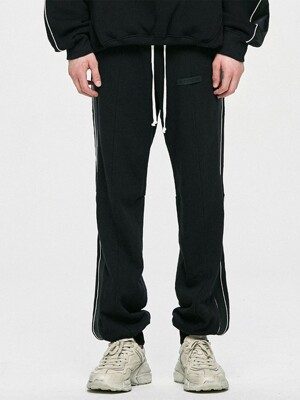 Piping Track Pants - Black