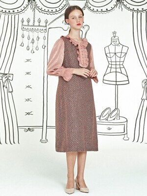 Frill Tweed Dress _ Pink