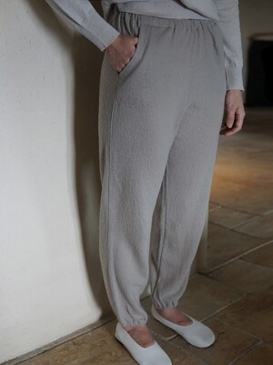 Wool Jogger Pants (Light Gray)