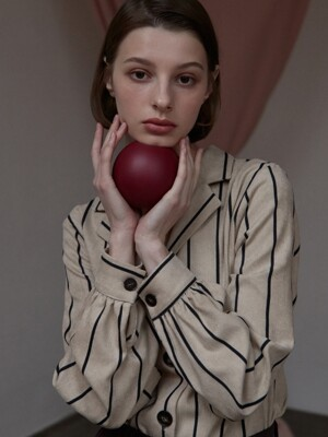[By Joorti] J354 striped corduroy blouse (beige)