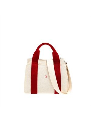 Stacey Daytrip Tote Canvas S_Ivory_Red