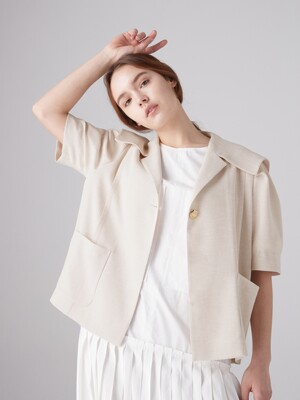 Sailor collar short jacket - Oatmeal