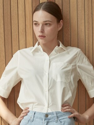 ouie381 cotton pocket half shirts (white)