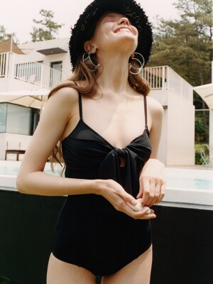 [FRONTROW X EENK] Cut-out Monokini Swimwear_BLACK