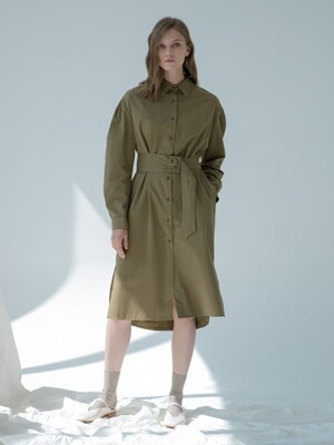 Belt Shirt Dress Khaki