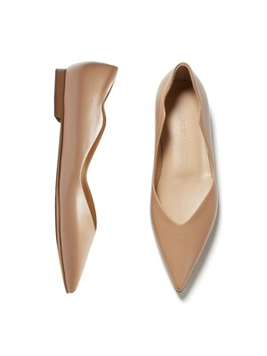 Wave point flat shoes [BEIGE]