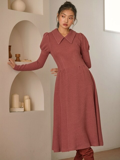 princess puff knit dress_pink