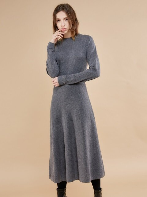 ROUND NECK KNIT OP_CHARCOAL