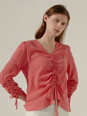 A CREPE SHIRRING BL_PINK