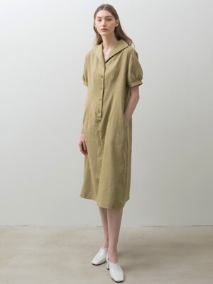 Linen Button Dress - Olive