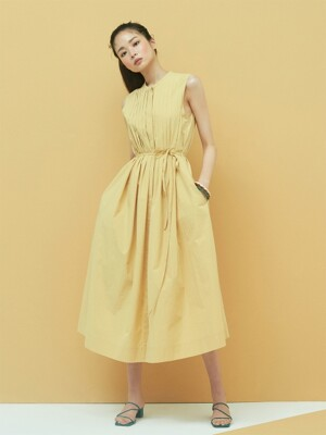 Cotton Pintuck Maxi Dress in Beige