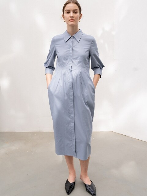 [ESSENTIAL]SILHOUETTE SHIRTS DRESS BLUE