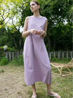 Linen Ballon Dress - Lavender