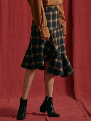 iuw203 check-unbalenced frill skirt (navy)