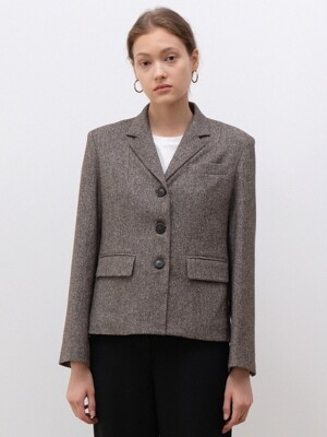 herringbone wool jacket (brown)