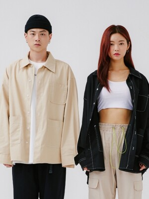 Stich Pocket Shirts [beige/black]