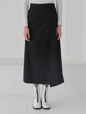 LONG WRAP SKIRTS WOMENS [BLACK]