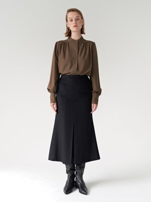 19FW FRONT FLARE SKIRT BLACK
