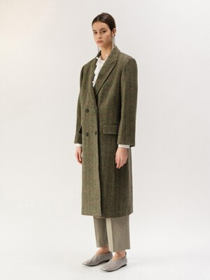 19FW DOUBLE-BREASTED WOOL COAT (KHAKI CHECK)