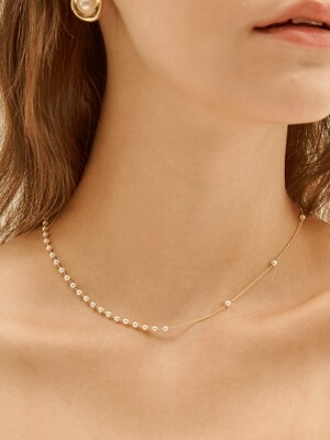 unbalance pearl chain necklace