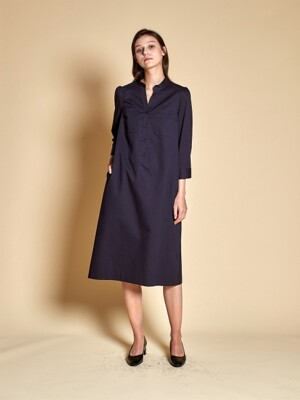 Belt Pocket Midi Dress_Navy