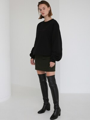 (UNISEX) HEAVY COTTON SWEATSHIRTS - BLACK