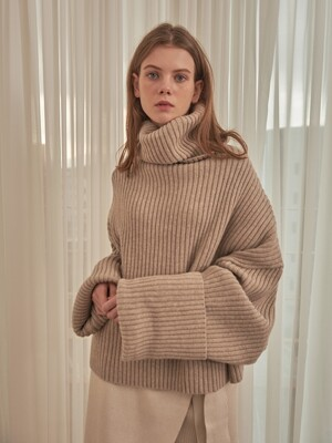 OVERSIZE LAMBSWOOL KNIT [OATMEAL]