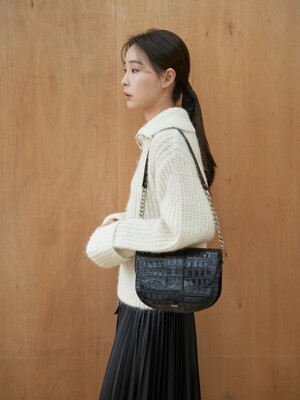 [단독]Saddle bag (Croc Black)