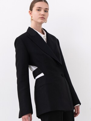BACKLESS DOUBLE-BREAST WOOL-SILK JACKET (BLACK)