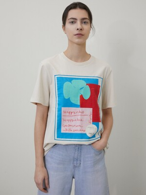 [단독][saki X a.t.corner] HAPPY CLUB T-SHIRT LIGHT BEIGE AETS0E011I1